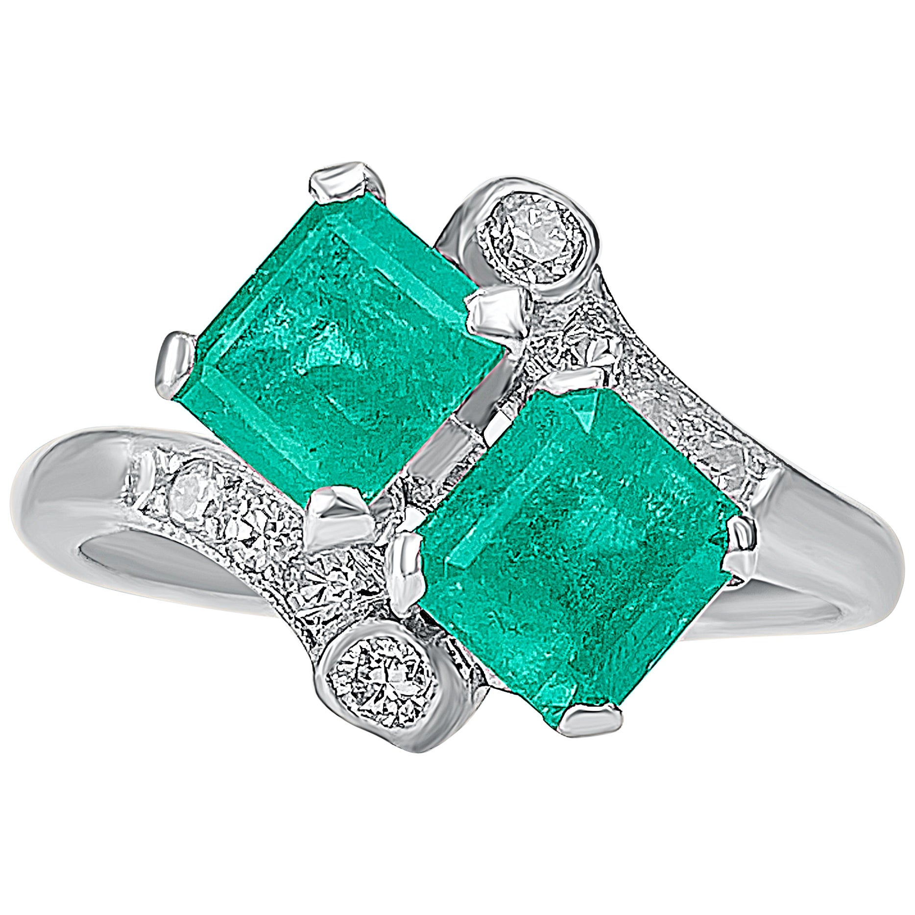 "2.16 Carat Colombian Emerald, Diamond and Platinum ""Toi Et Moi"" Ring"