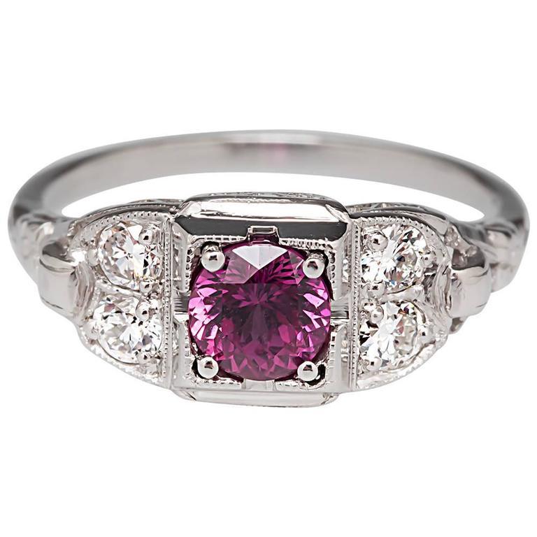 1930s antique no heat purplish pink sapphire platinum ring