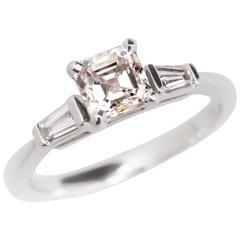 GIA .76 Carat Asscher Cut E/VVS2 Diamond White Gold Ring