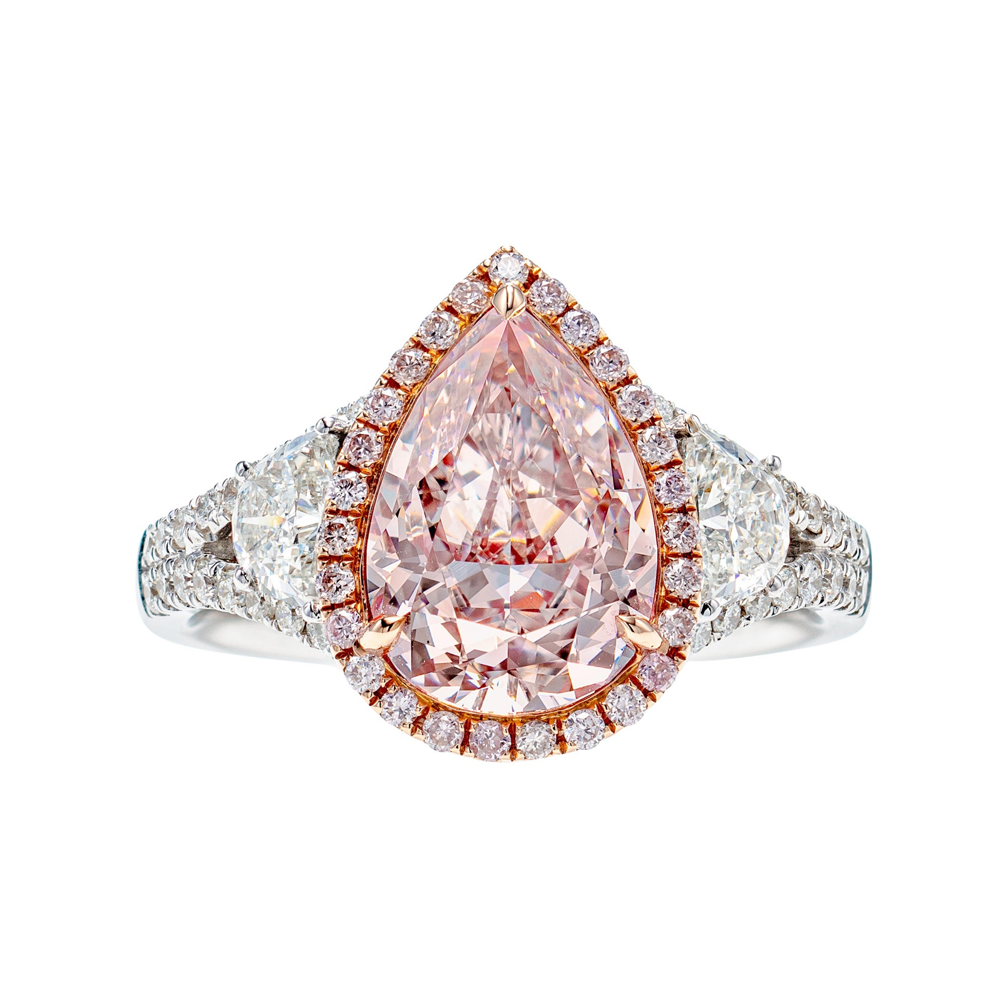 GIA Certified 3.44 Carat Very Light Pink Pear Diamond Ring in 18K Gold