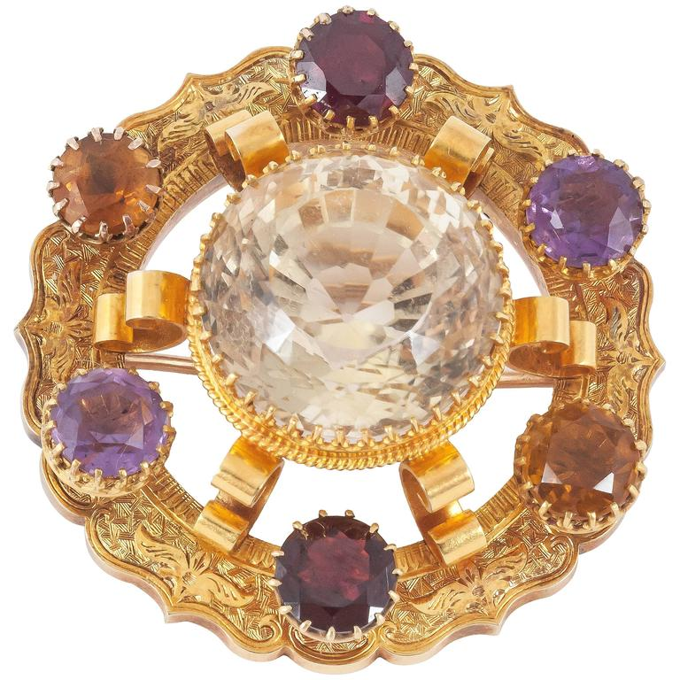 1870s Scottish engraved coloured stone gold brooch