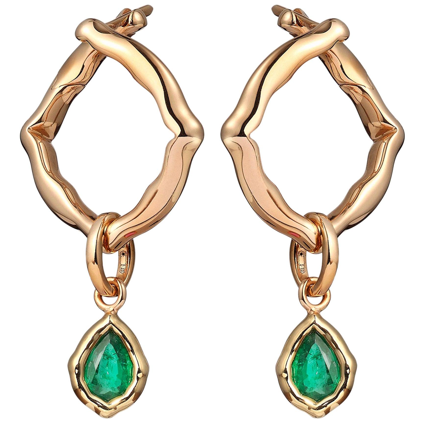 18 Karat Yellow Gold and Emeralds Hoop Earrings