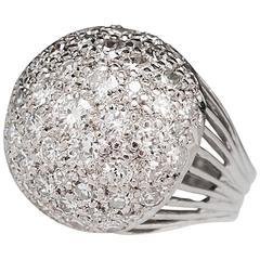 1960s Retro 3 Carat Diamond Gold Dome Ring