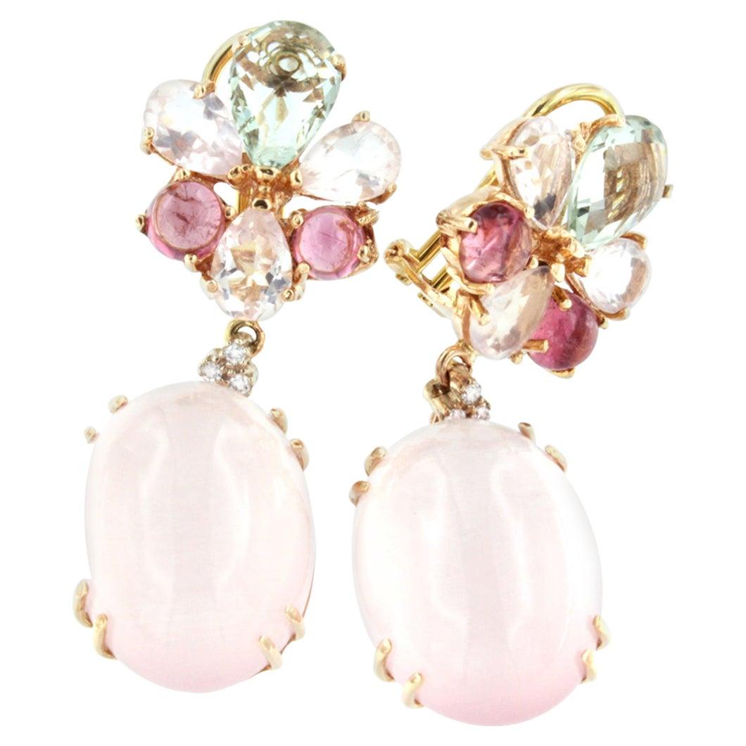 18k Rose Gold Pink Quartz Pink Tourmaline Prasiolite White Diamonds Earrings