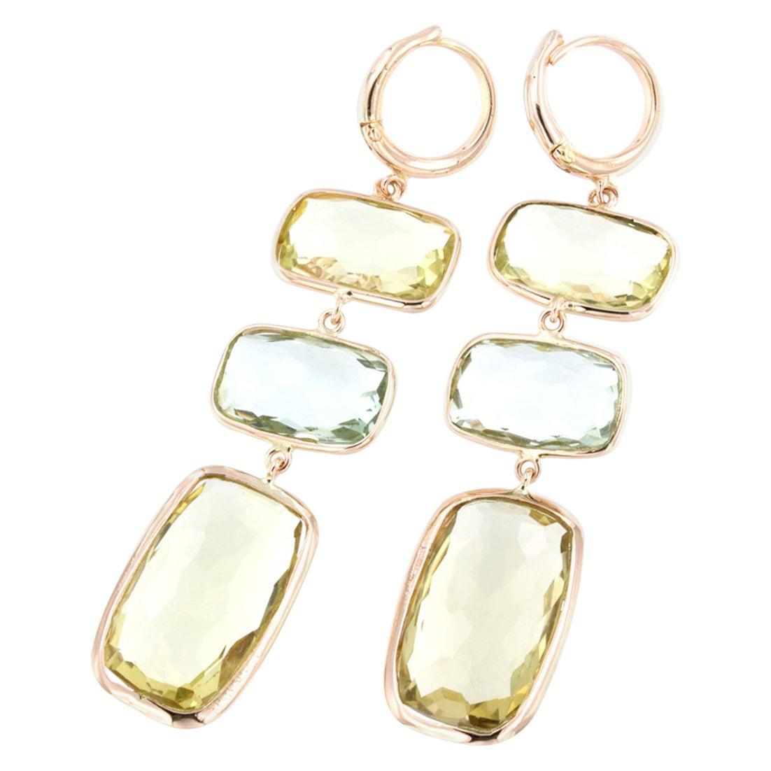 18 Karat Rose Gold with Lemon Quartz and Prasiolite Earrings