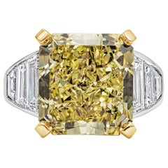 GIA Certified 11.30 Carat Intense Yellow Radiant Cut Diamond Engagement Ring