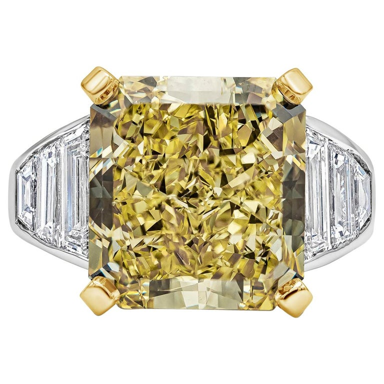 GIA Certified 11.30 Carat Intense Yellow Radiant Cut Diamond Engagement Ring For Sale