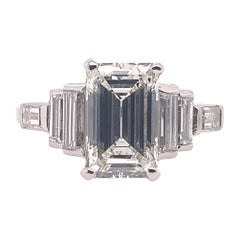 GIA Certified 1.80 Carat Emerald Cut J VS1 Platinum Engagement Ring, circa 1950