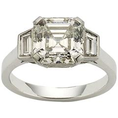 3.53 Carat GIA Cert Asscher cut diamond platinum ring