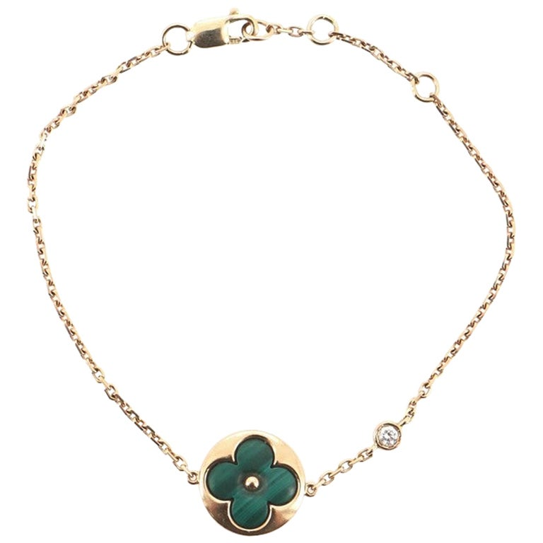 Louis Vuitton Color Blossom BB Bracelet 18K Rose Gold with Malachite and Diamond