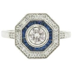Art Deco Style Diamond Engagement Ring Sapphire Octagon Halo Low Setting