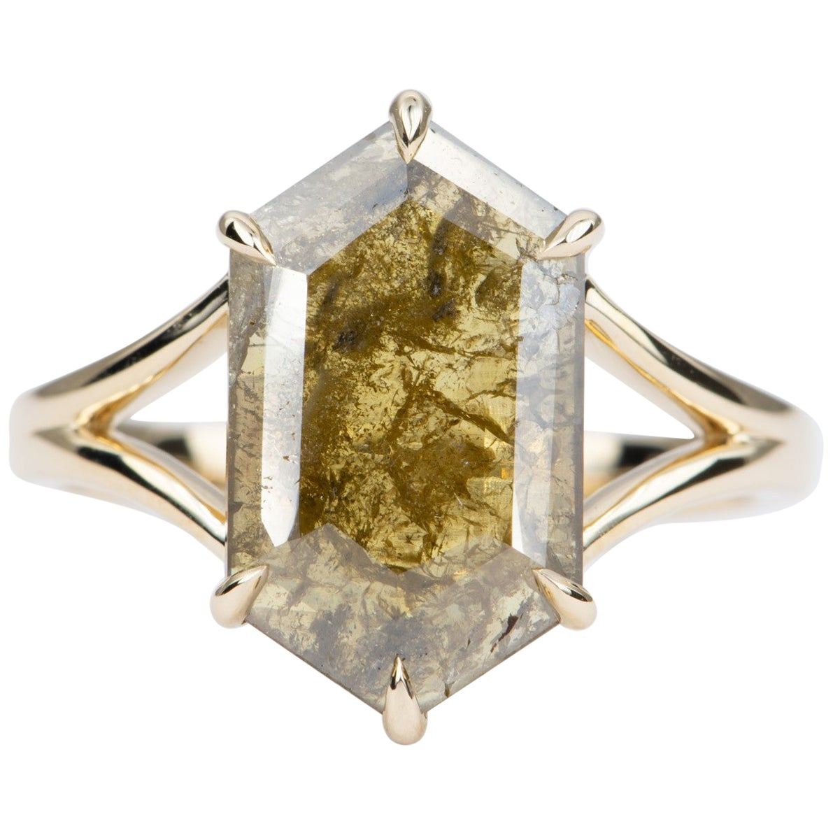 2.88 Carat Salt and Pepper Hexagon Diamond 14 Karat Yellow Gold Ring AD2220-4