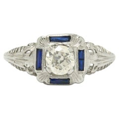 Square Antique Art Deco Diamond Engagement Ring 1/2 Carat Filigree 4 Sapphires