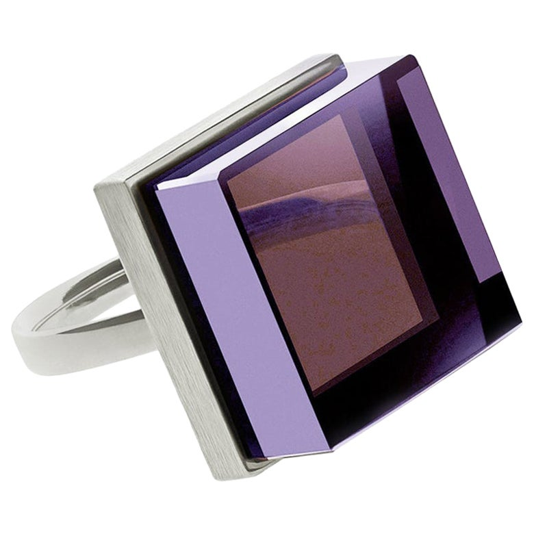 White Gold-Plated Sterling Silver Art Deco Style Ring with Natural Amethyst