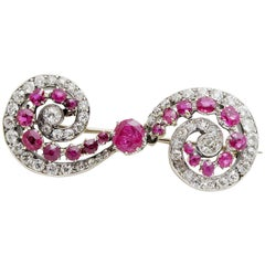 Victorian Ruby and Diamond Brooch, Late 19th Century