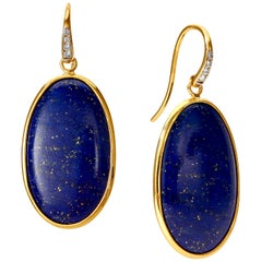 Syna Lapis Lazuli Yellow Gold Earrings with Champagne Diamonds