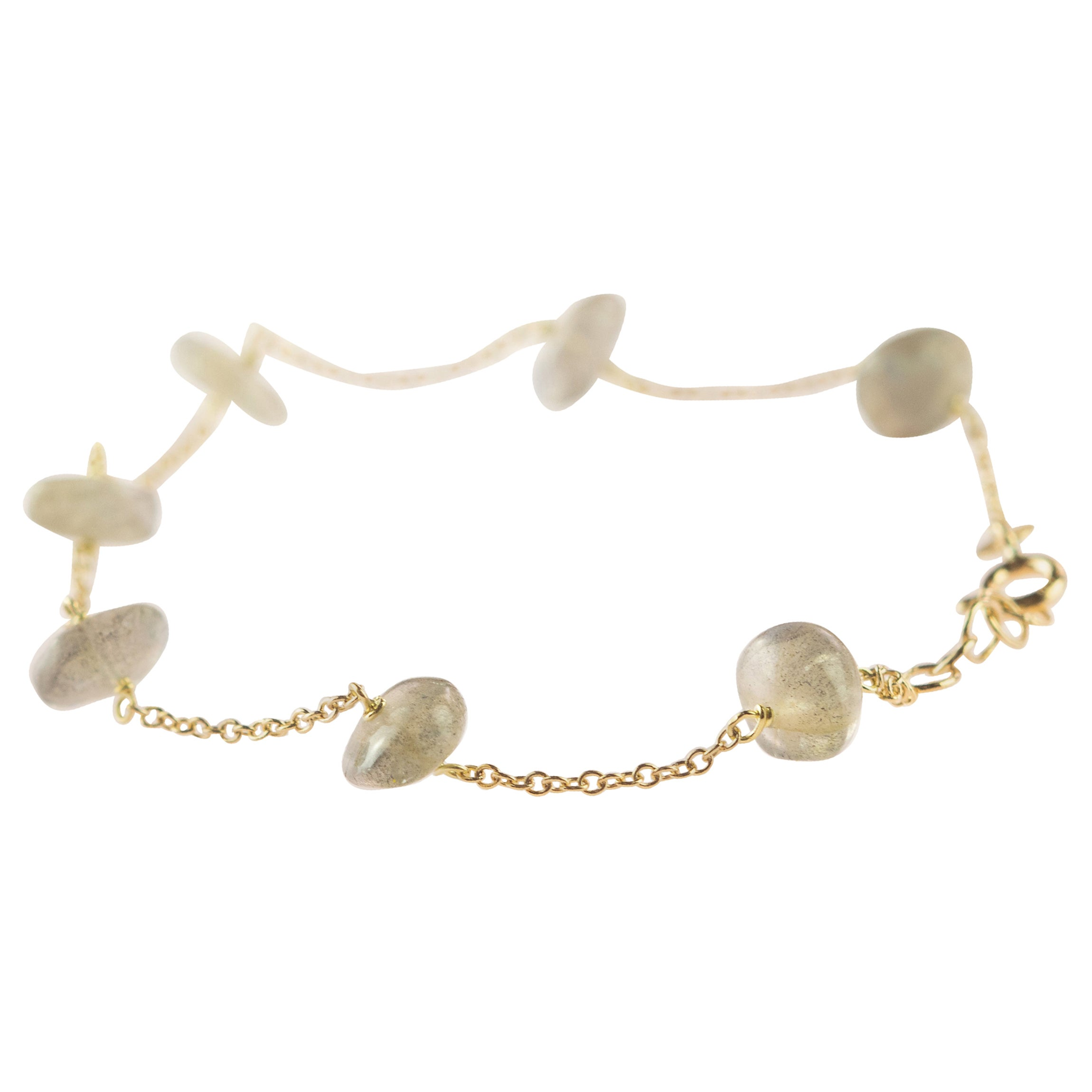Intini Jewes 18 Karat Gold Chain Cat's Eye Rondelles Handmade Cocktail Bracelet