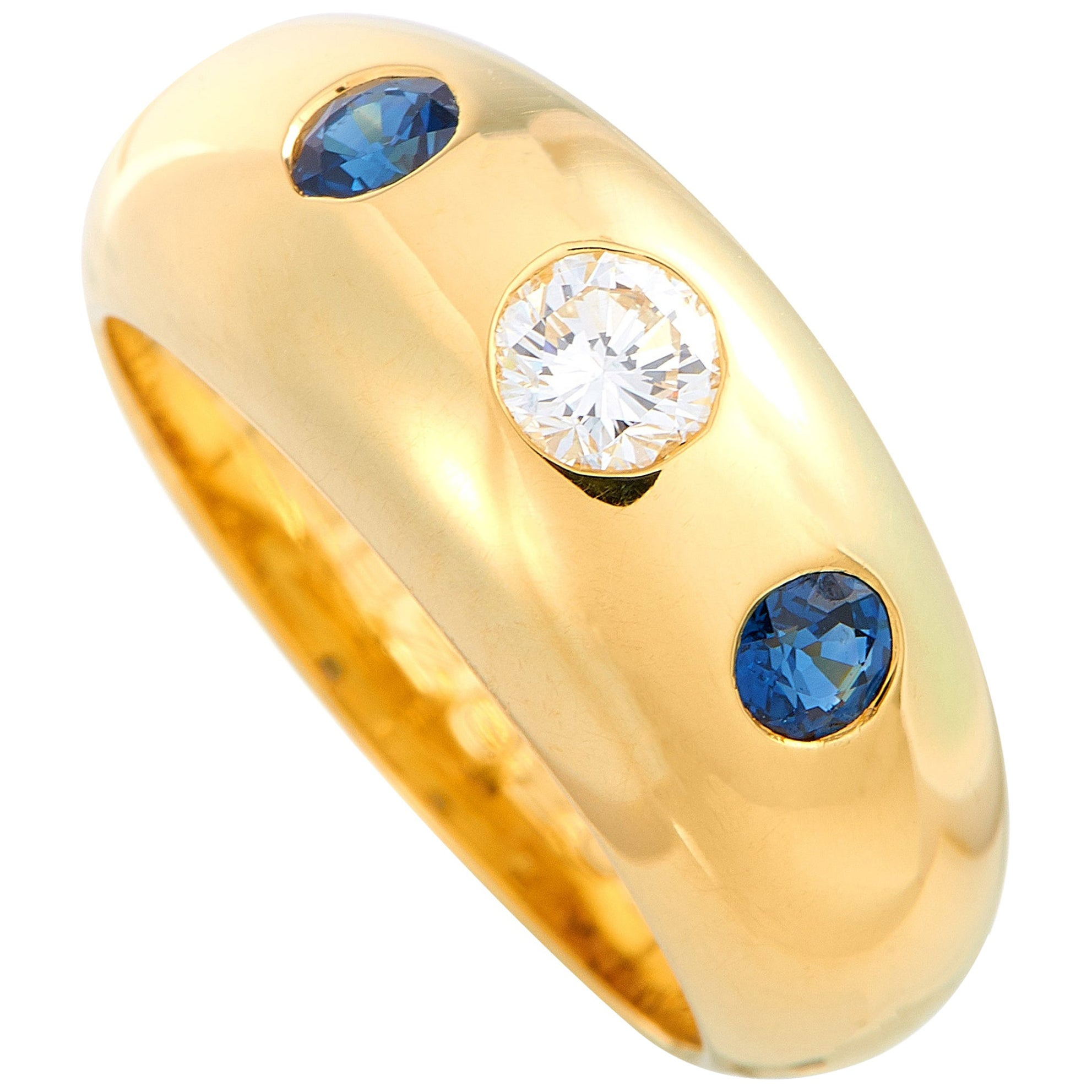 Cartier 0.25 Carat Diamond and Sapphire Yellow Gold Ring