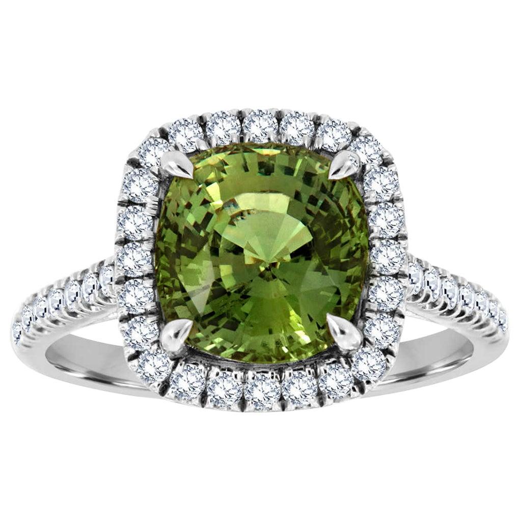18 Karat Gold Natural Unheated Alexandrite Diamond Ring GIA 'Center 3.91 CT.'