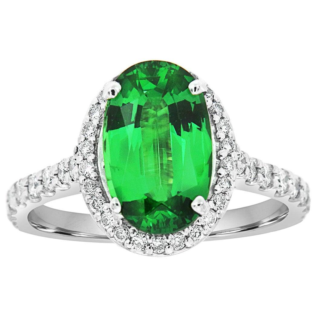 18 Karat Gold Halo Oval Green Tsavorite Diamond Ring GIA 'Center-2.86 Carat .'
