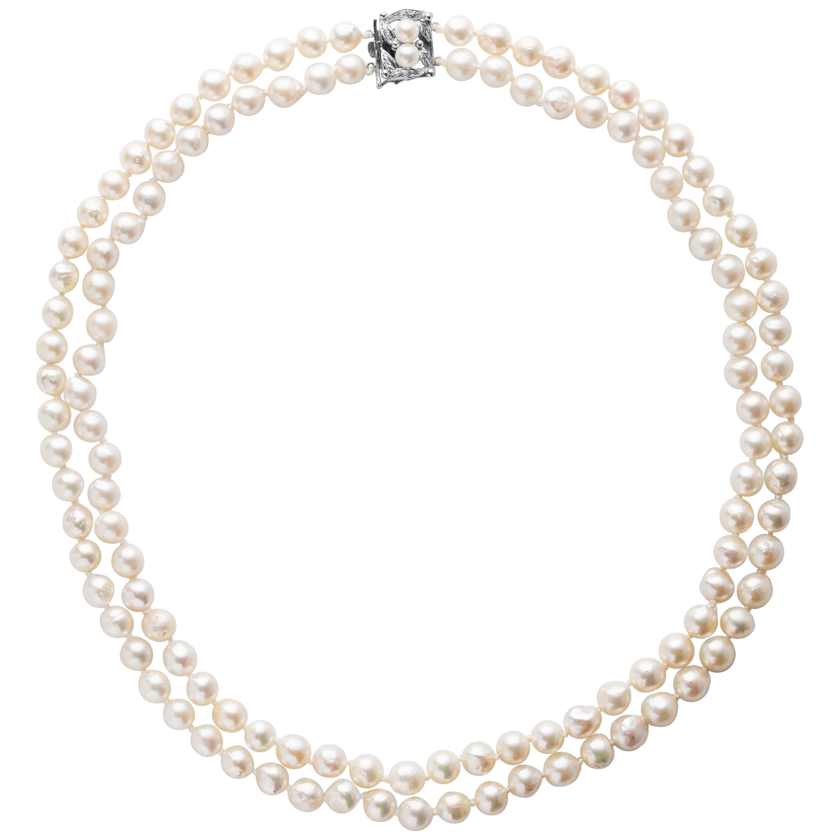 Akoya Pearl Necklace Double Strand, circa 1950s
