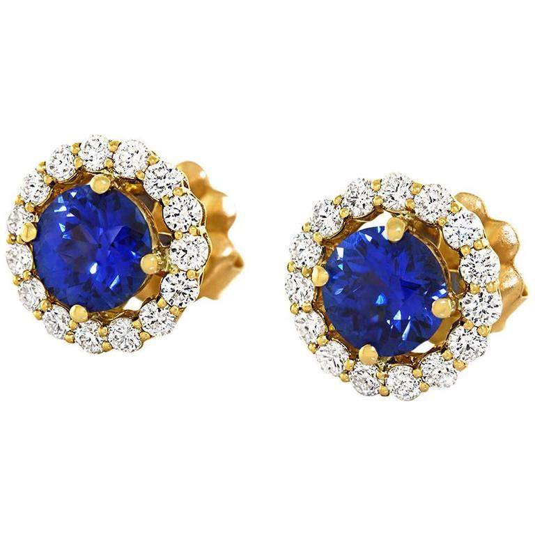 Cornflower Blue Sapphire Diamond Gold Earrings For Sale
