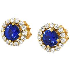 Cornflower Blue Sapphire Diamond Gold Earrings