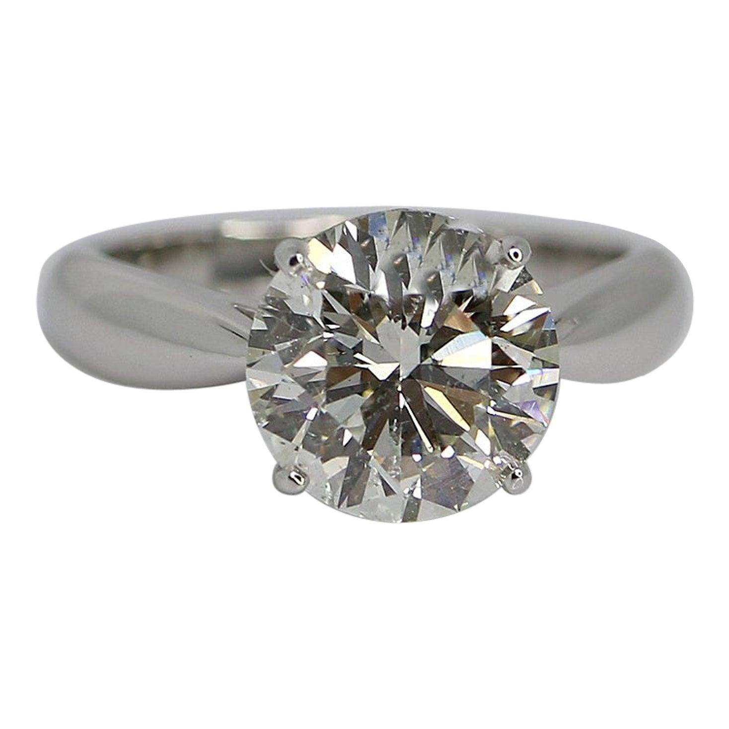GIA Certified 3.58 Carat Round Brilliant Diamond Ring