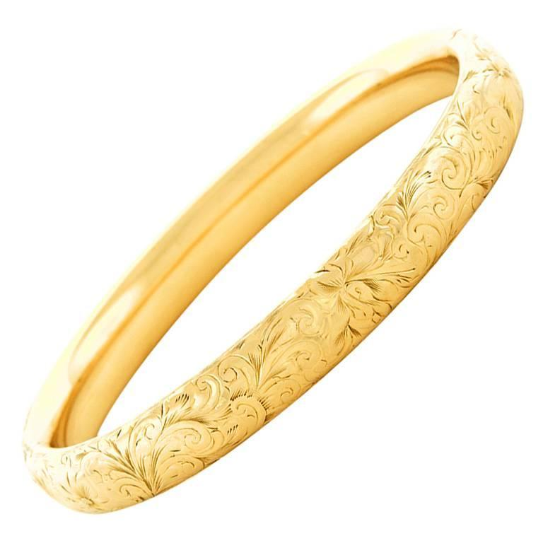 Antique Hand Engraved Gold Bangle At 1stdibs