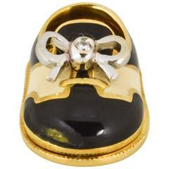Aaron Basha black and white enamel gold baby shoe charm
