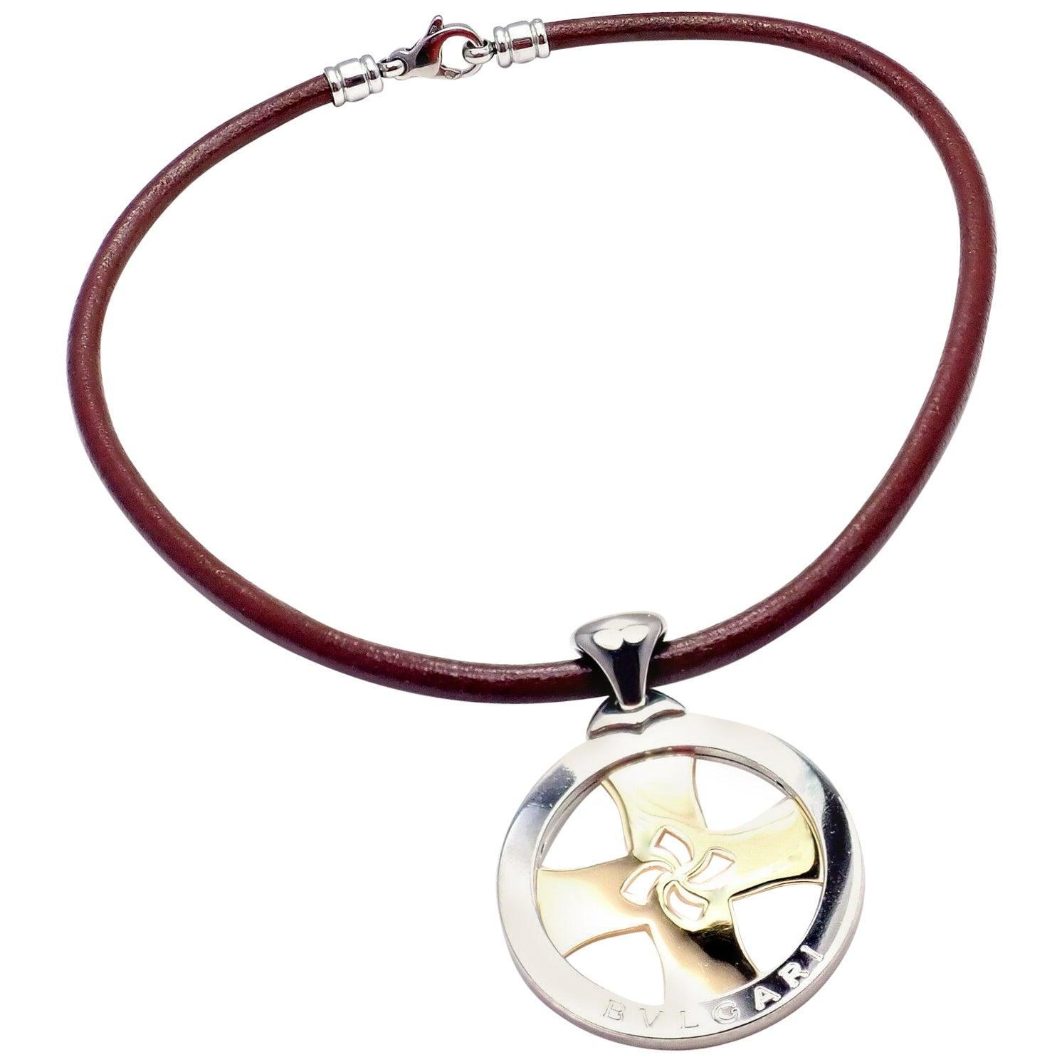 Bulgari Tondo Cross Yellow Gold Stainless Steel Pendant Necklace