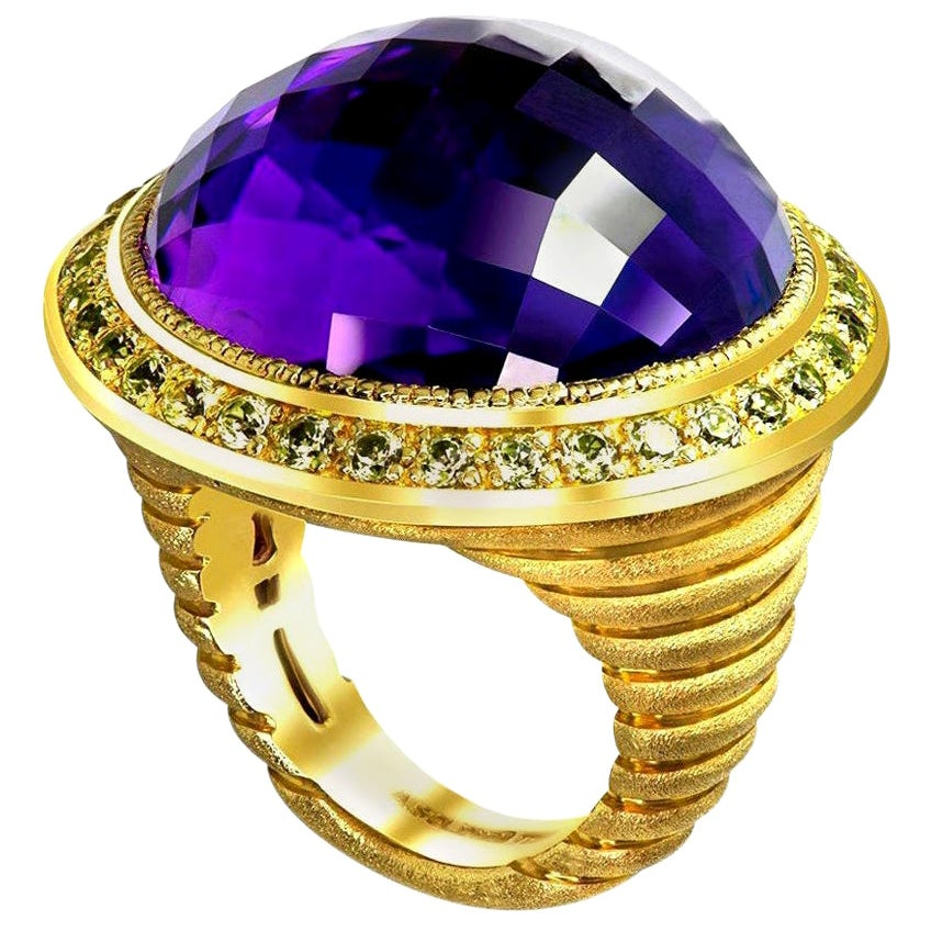 Alex Soldier Amethyst Peridot Gold Symbolica Ring One of a Kind