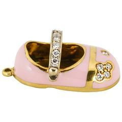Aaron Basha enamel diamond gold baby shoe
