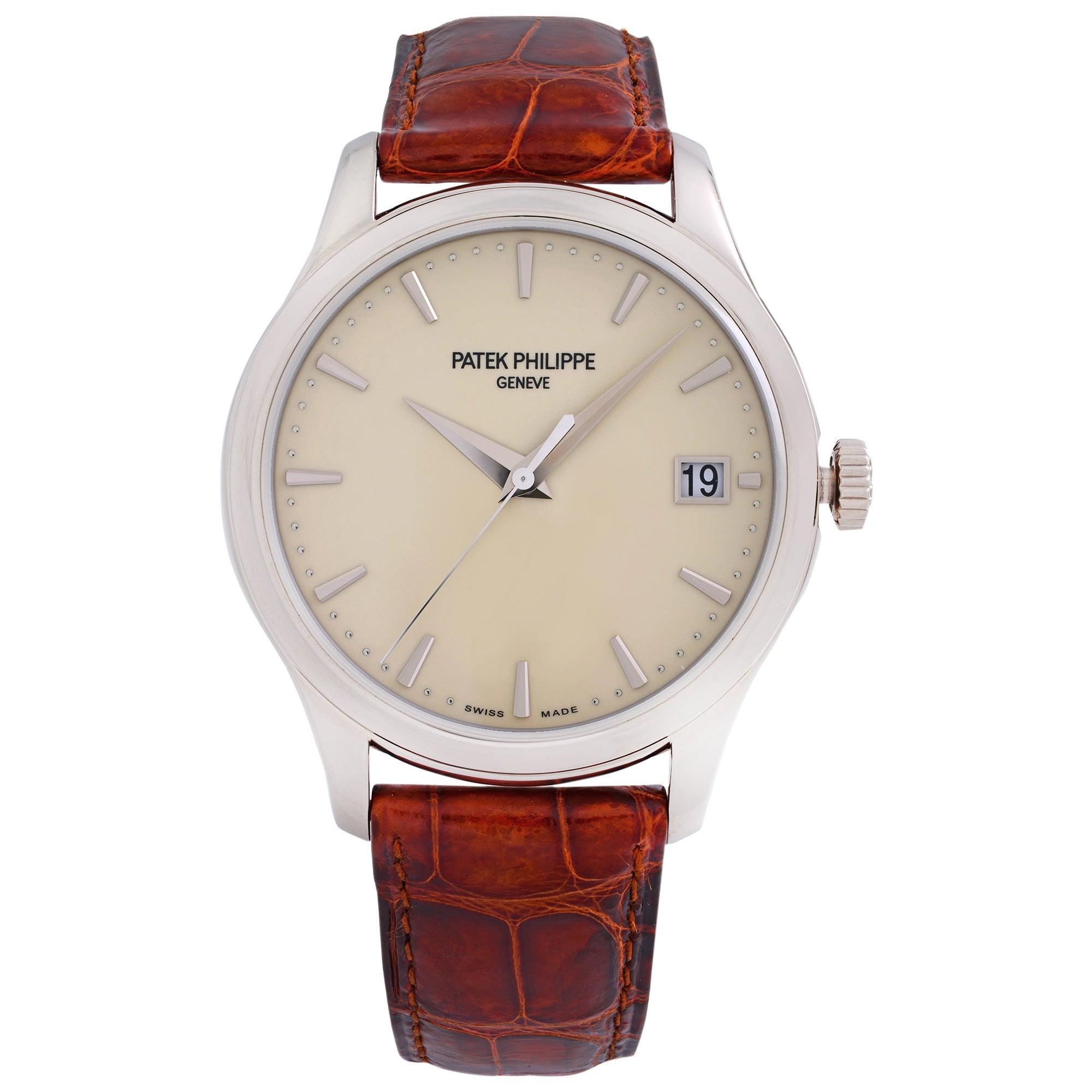 Patek Philippe Calatrava 18K White Gold Beige Dial Automatic Men Watch 5227G-001