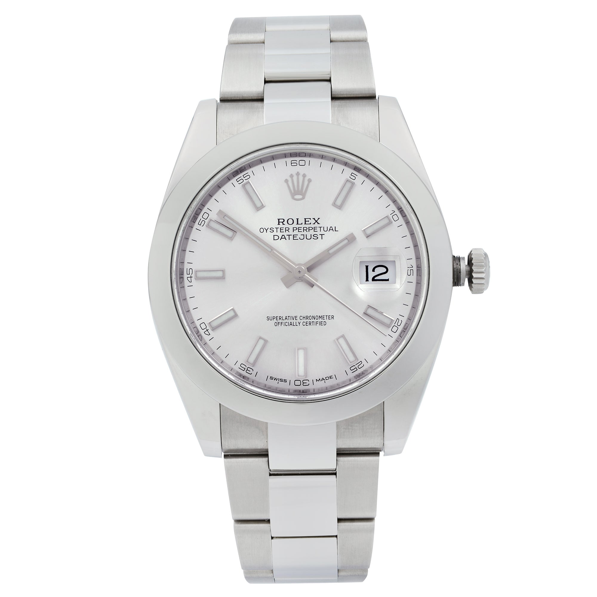 Rolex Datejust Steel Silver Index Dial Smooth Automatic Men's Watch 126300