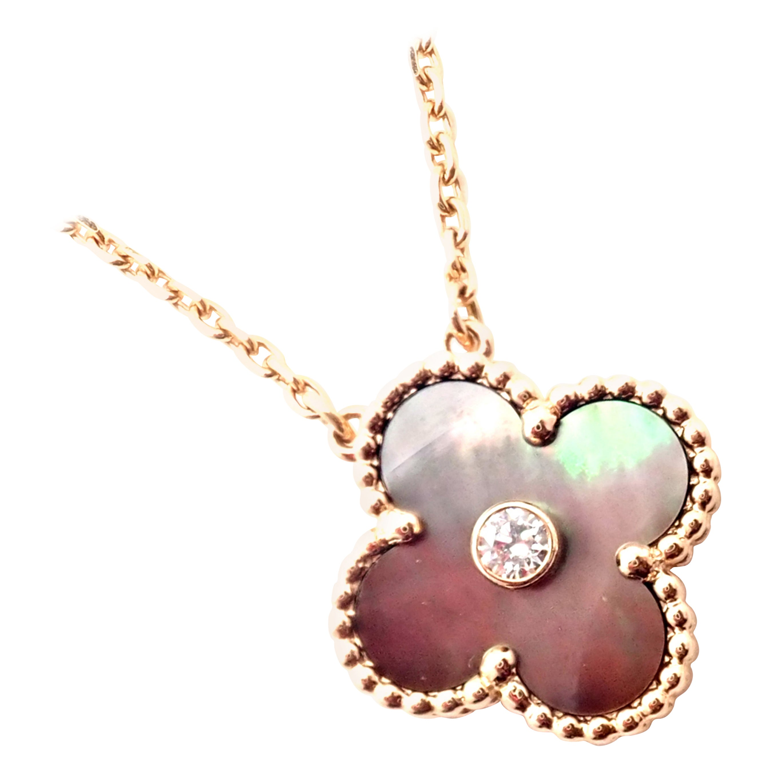 Van Cleef & Arpels Alhambra Diamond Grey Mother of Pearl Rose Gold Necklace