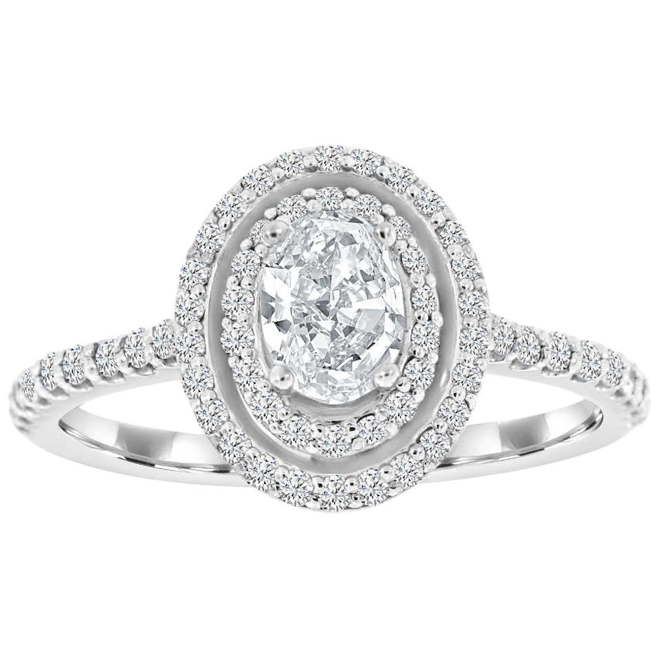14 Karat White Gold Double Halo Oval Diamond Ring 'Center-0.42 E-VS1 GIA'