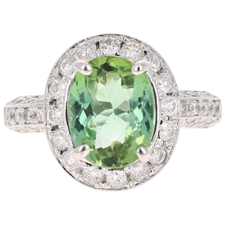 4.27 Carat Green Tourmaline Diamond 14 Karat White Gold Engagement Ring