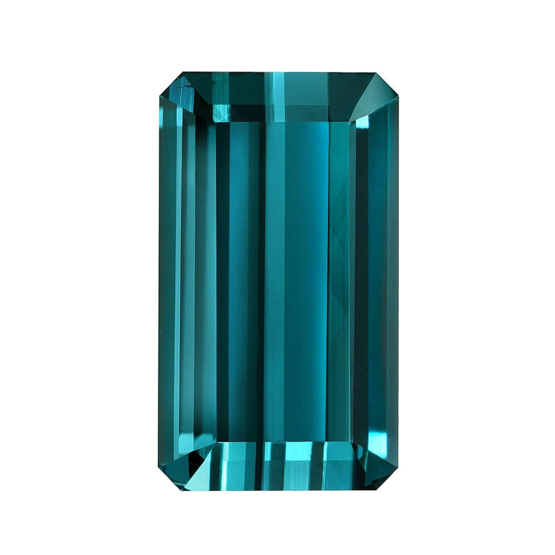 Blue Indicolite Tourmaline Ring Gem 8.20 Carat Emerald Cut Loose Gemstone