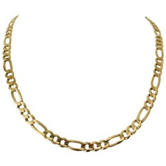 14 Karat Yellow Gold 36g Solid Heavy Figaro Link Chain Necklace