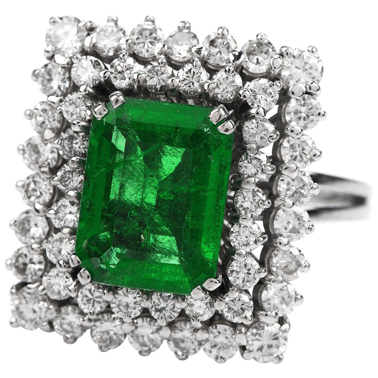 Certified AGL 2.48 Carat Colombian Emerald Diamond Platinum Cocktail Ring