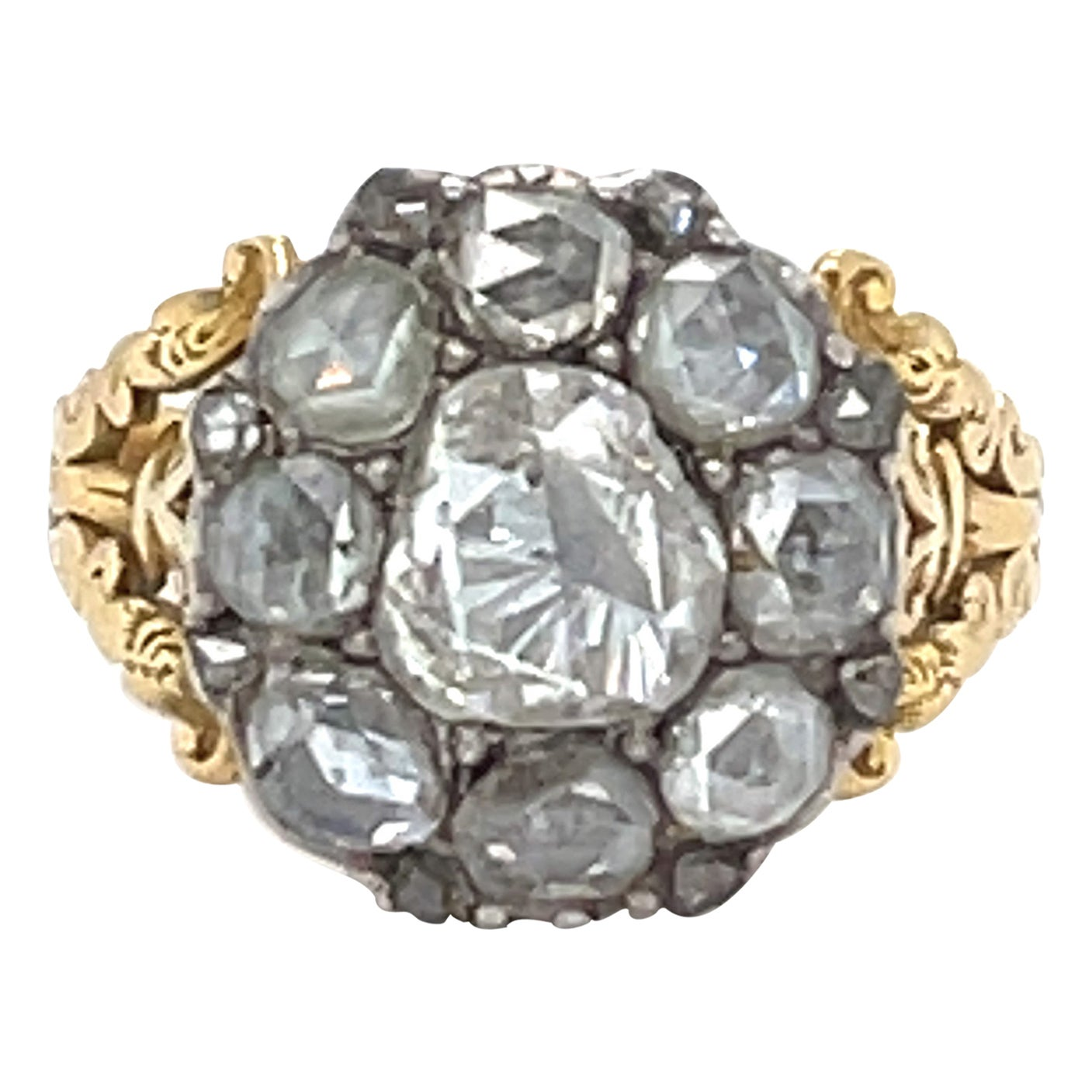 Antique Georgian 18 Karat Gold Rosecut Diamond Cluster Ring