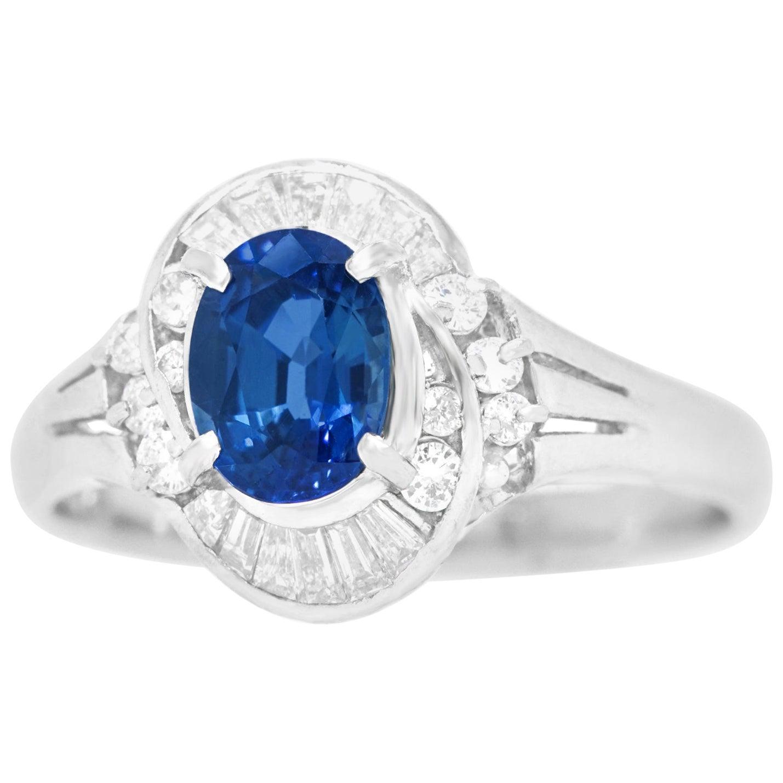 Gorgeous 1950s Sapphire and Diamond-Set Platinum Ring