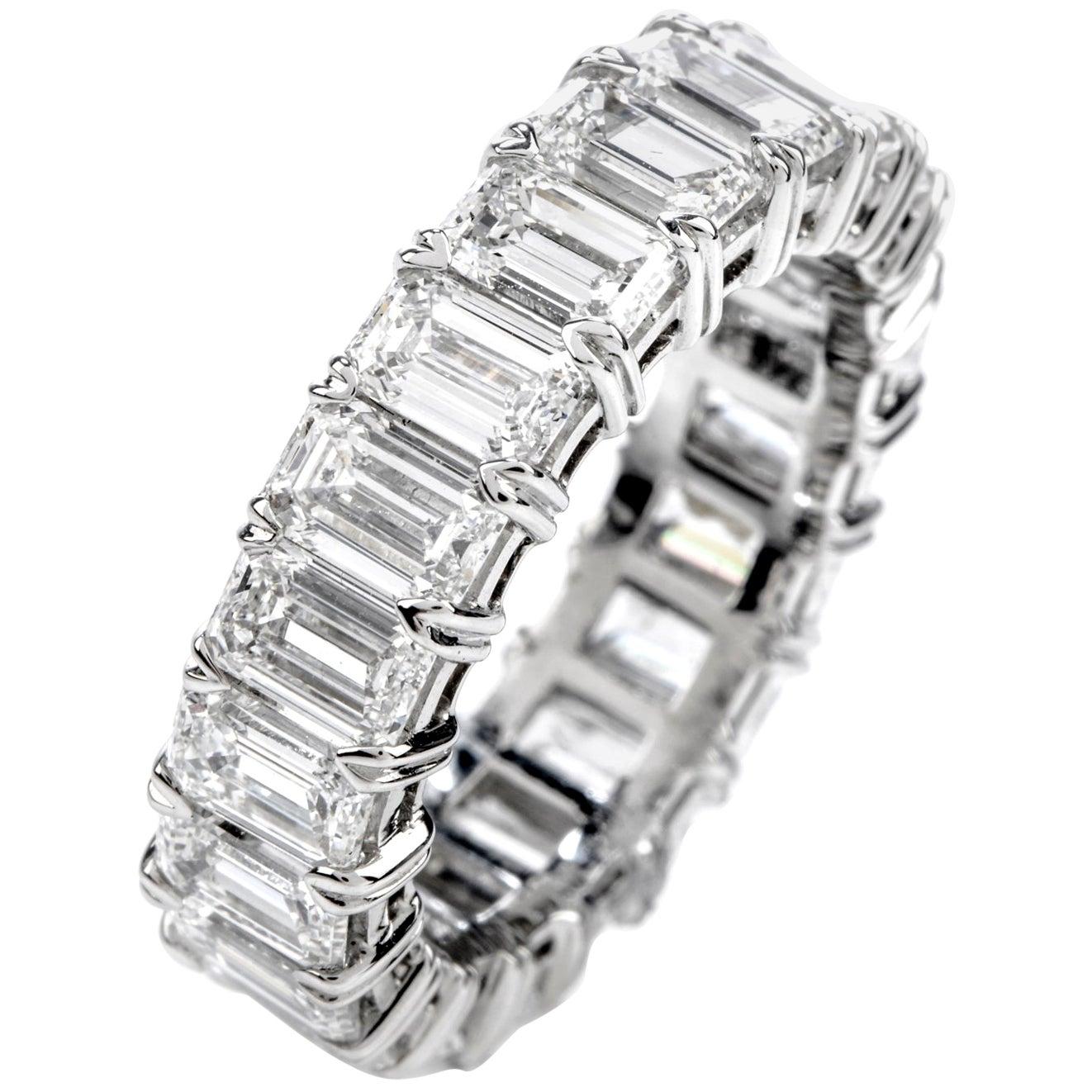 GIA 6.57 Carat D-VVS1 Emerald Cut Diamond Platinum Eternity Band Ring