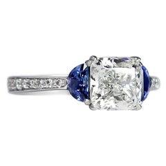 J. Birnbach GIA Certified 1.84 Ct Cushion Diamond and Sapphire Three-Stone Ring