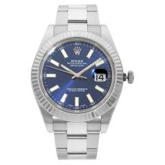 Rolex Datejust Steel 18 Karat White Gold Bezel Blue Baton Dial Mens Watch 116334