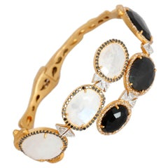 White Moonstone and Black Spinel Statement Bracelet with 2.71 Carat Diamonds