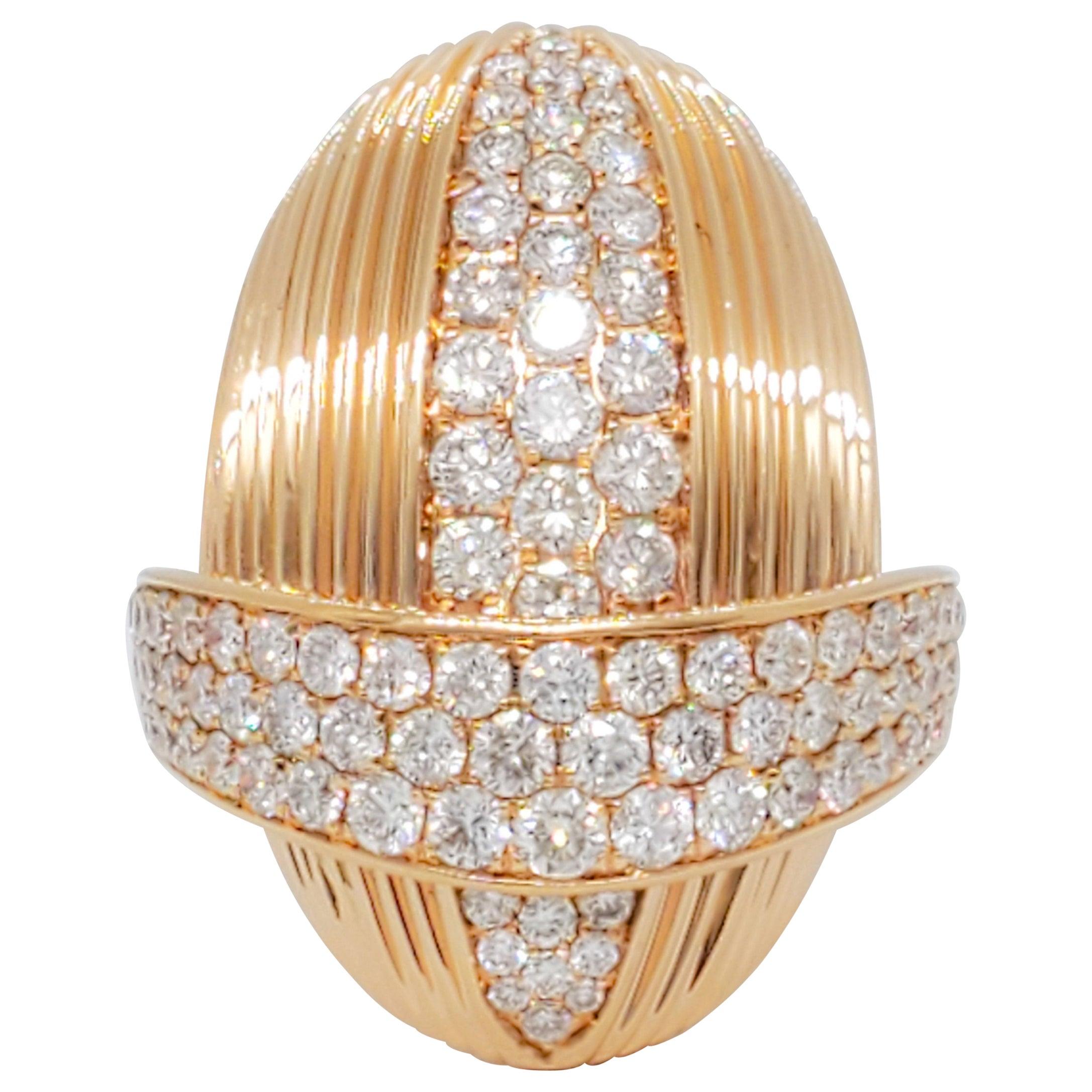 White Diamond Fashion Ring in 18 Karat Rose Gold