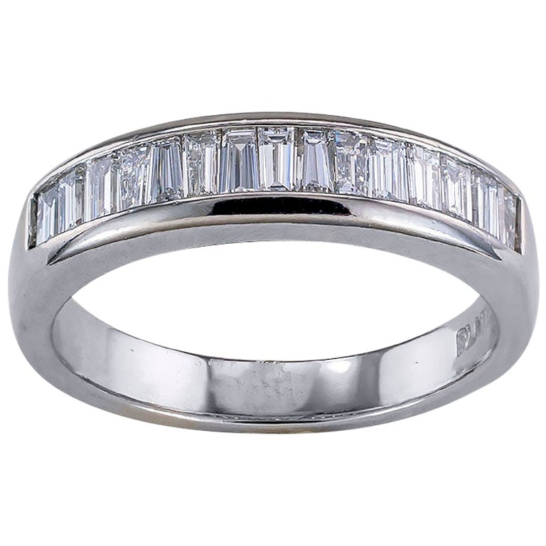 Baguette Diamond Platinum Wedding Band