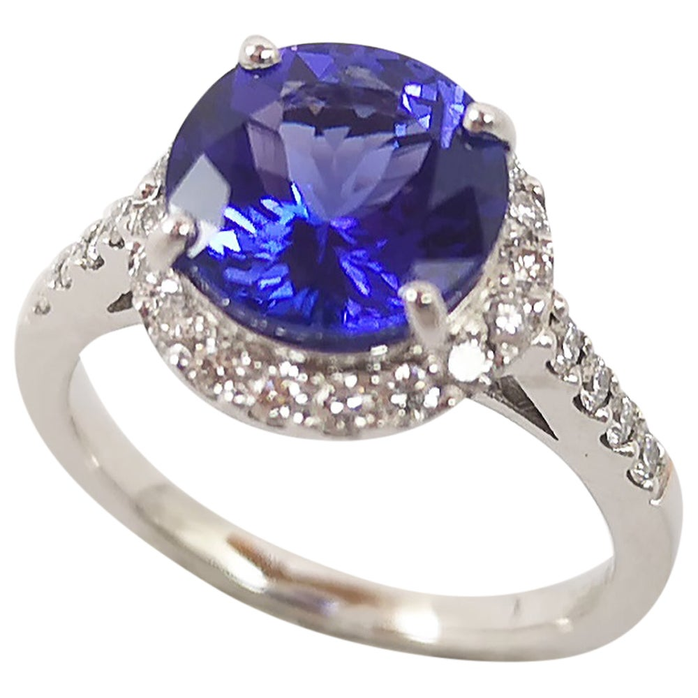Round Cut Tanzanite with Diamond Ring Set in Platinum 950 Settings